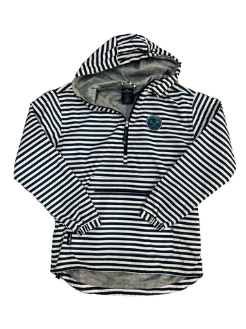 1/4 Zip Ladies Striped Wind Breaker with Jersey Lining