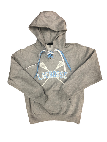 Lace-up Hoodie with Light Blue and White Logo