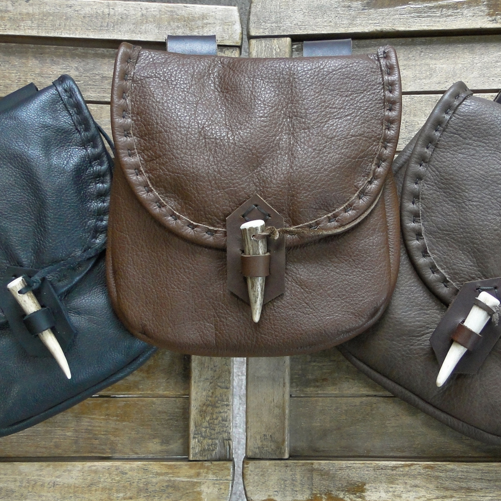Medieval Leather Pouch, Renaissance Bag, Deer Antler Point Closure - The WOODSMAN