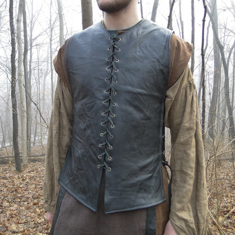 Custom Medieval Leather Tunic / Shirt, Lace up Front and Sides, Sleeveless - Choose Color & Size