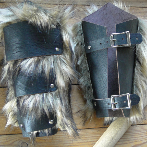 Leather & Fur Barbarian Bracers - Viking, Faux Wolf Fur, Arm Guards