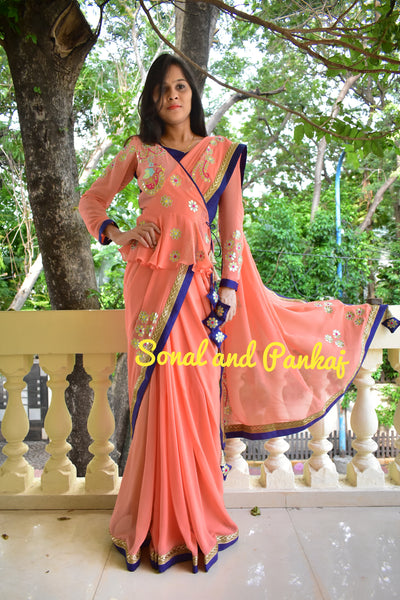 Gorgeous Peach Gotta Patti Saree With Peplum Style Blouse - SA00360