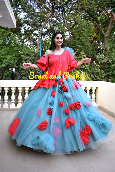 Gorgeous Sapphire Lehenga With Coral Blouse - LH00367
