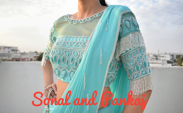 Turquoise Tassels Hand Embroidered Blouse - BL00017