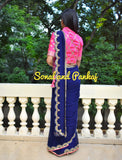 Navy Blue Gotta Patti Saree With Hot Pink Blouse - SA00372
