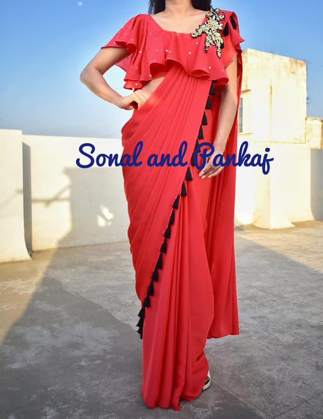 Red Cocktail Saree With Ruffed Blouse - SA00294