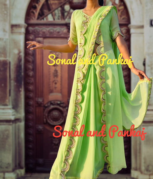 Pista Green Hand Work Saree With Designer Jacket - SA00244