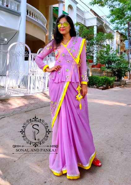 Lavender Gotta Patti Saree With Peplum Style Blouse - SA00426