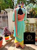 Sea Blue & Lemon Yellow Cowl Saree With Stitched Designer Blouse - SA00555