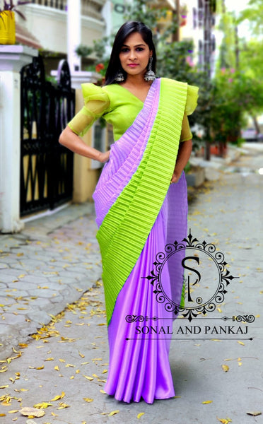 Lavender & Parrot Green Color Block Crushed Pallu Saree - SA00626