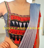 Metallic Grey Saree With Uber Stylish Blouse - SA00191