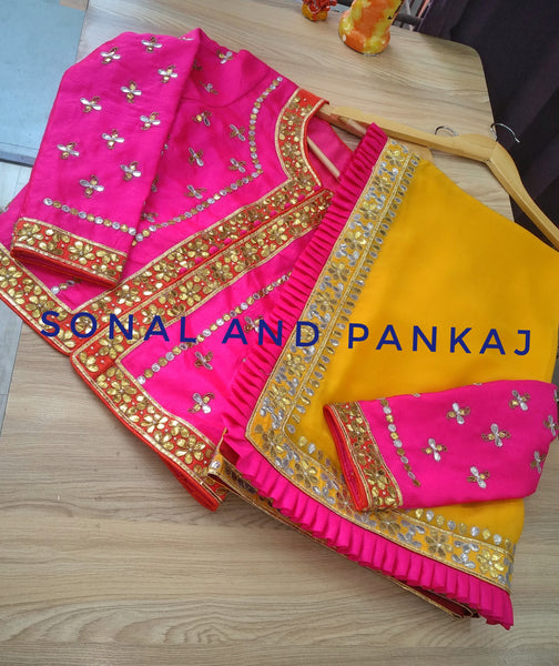 Gorgeous Marigold Gotta Patti Saree With Hot Pink Gotta Patti Jacket - SA00193