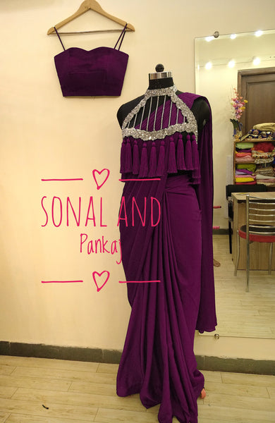 Wine Saree With Hand Embroidered Tassels Cape - SA00198