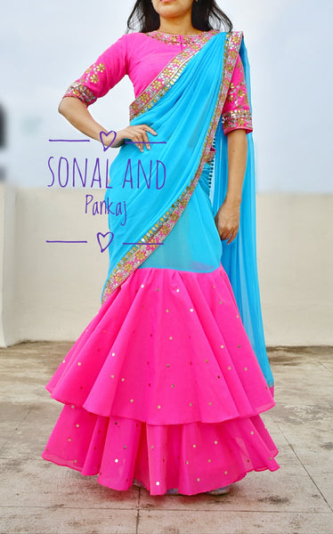 Rani Pink & Blue Hand Embroidered Gotta Patti Border Saree- SA00218