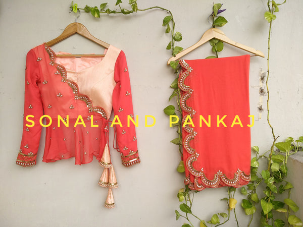 Beautiful Coral Saree With Peplum Style Blouse - LH00227