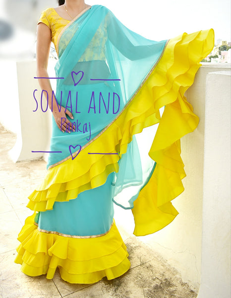 Ready To Wear Aqua & Yellow Saree - SA00223