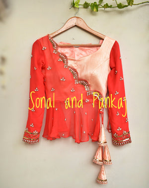 Beautiful Coral Lehenga With Peplum Style Blouse - LH00226