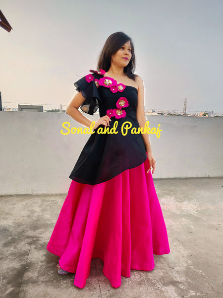 Indowestern Black Peplum Style Blouse With Hot Pink Lehenga - LH00241