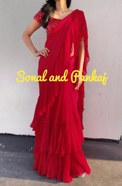 Red Hot Crushed Ruffle Saree - SA00245