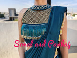 Peacock Green Tassels Hand Embroidered Blouse - BL00024