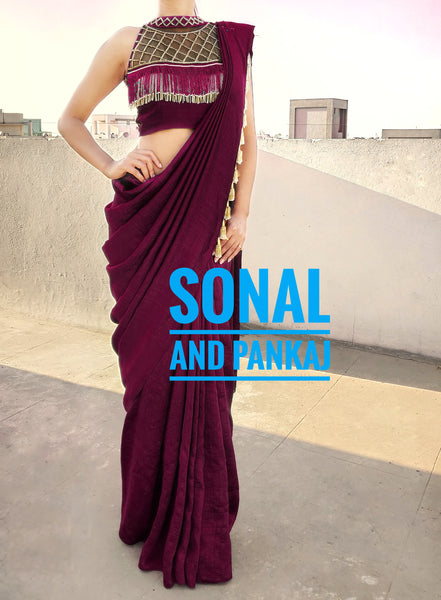 Plum Cocktail Saree With Uber Stylish Blouse - SA00252