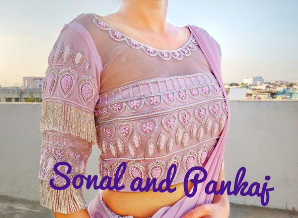 Baby Pink Tassels Hand Embroidered Blouse - BL00018