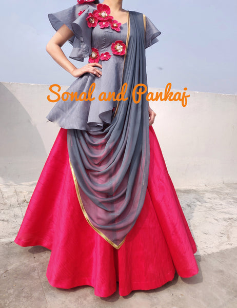 Indowestern Grey Peplum Style Blouse With Red Lehenga - LH00289