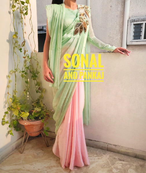 Pure Modal Crepe Green & Peach Designer Saree- SALE305