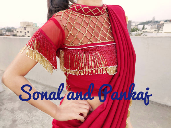 Red Tassels Hand Embroidered Blouse - BL00025
