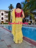 Yellow Crushed Ruffle Saree - SA00302