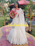 GUL-BAAG Ready To Drape Off White Layered Crushed Saree - SA00308