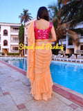 Peach Crushed Ruffle Saree - SA00312