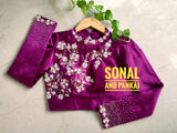Beautiful Wine Hand Embroidered Blouse - BL00015