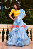 Ocean Blue Lehenga With Yellow Blouse - LH00369