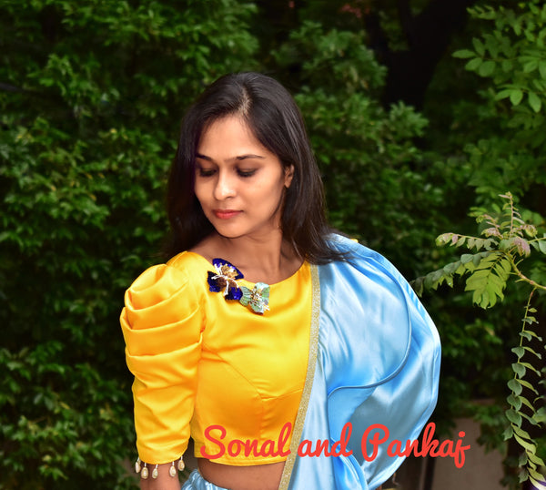 Yellow Sea Shells Sleeves Designer Blouse - BL00019