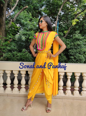 Yellow Dhoti Saree With Stunning Blouse- FL00377