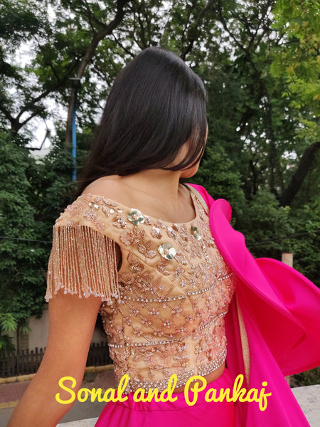 Golden Grandeur Off Shoulder Hand Embroidered Blouse - BL00034