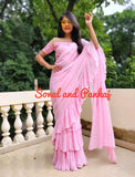 Baby Pink Crushed Ruffle Saree - SA00379