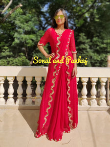 Red Hand Work Saree With Designer Jacket - SA00378