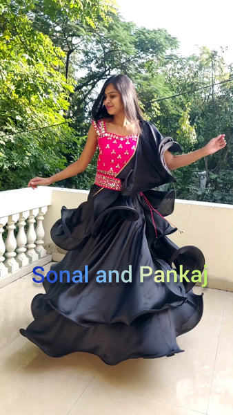 Black Rose Lehenga With Hand Embroidered Blouse - SALE383