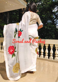 Hand Embroidered White Floral Organza Saree - SA00385
