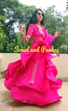 Hot Pink Lapel Collar Jacket With Pink Rose Lehenga  - LH00388