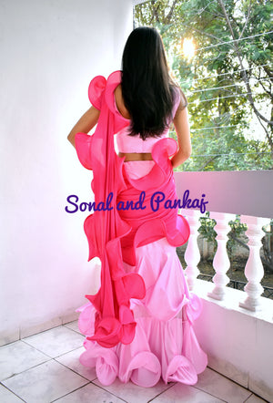 Ready To Wear Baby Pink & Hot Pink Structured Ruffle Saree - SA00387