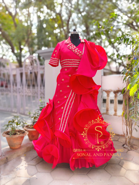 Red Rose Lapel Collar Jacket With Red Rose Lehenga  - LH00395