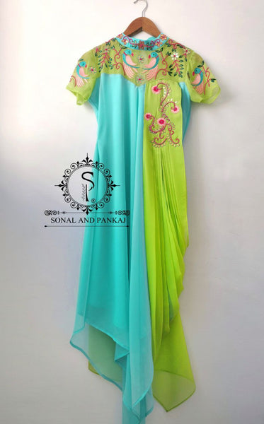 Sea And Parrot Green Drape Kurti - SALE016