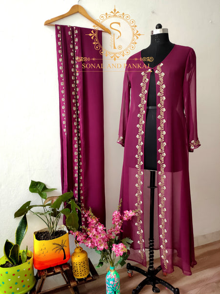 Hand Embroidered Wine Jacket Saree - SA00498
