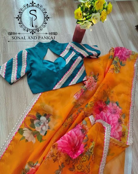 Organza Print Saree With Designer Blouse - SA00505
