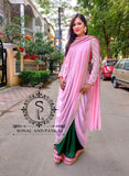 Baby Pink & Bottle Green Cowl Saree With Stitched Designer Blouse - SA00531