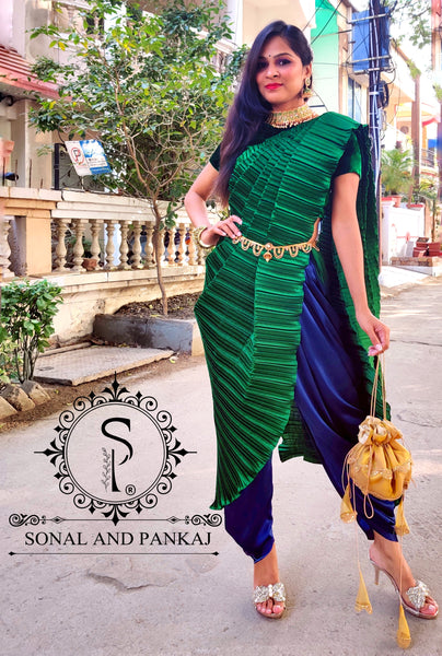 Emerald Green & Navy Blue Crushed Pallu Dhoti Saree - SA00541