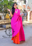 Pink & Orange Crushed Pallu Saree - SA00540
